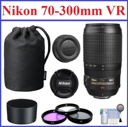 Nikon Af-S Vr Zoom-Nikkor 70-300Mm F/4.5-5.6G If-Ed Telephoto Zoom Lens With 5-Year Nikon Usa Warranty: Bundle Includes Nikon Lens Pouch, Nikon Lens Hood, 3-Piece 67Mm Filter Kit And Lens Cleaning Kit