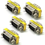 SIENOC 5 pcs 9 Pin RS-232 DB9 Male to Male Serial Cable Gender Changer Coupler Adapter