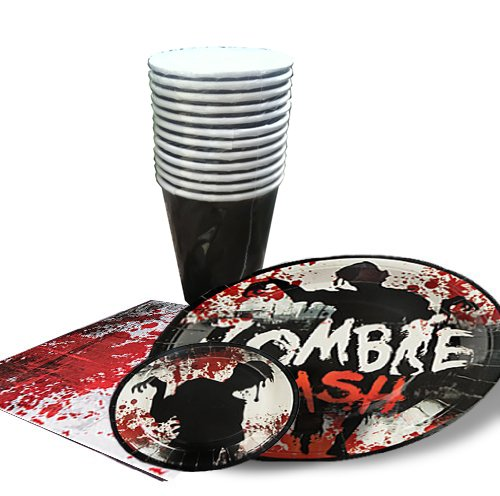 Zombie Dinner Party Pack For 8-(44 Pieces)/8 Luncheon Plates, 8 Dessert Plates, 12 Drink Cups, 16 Napkins