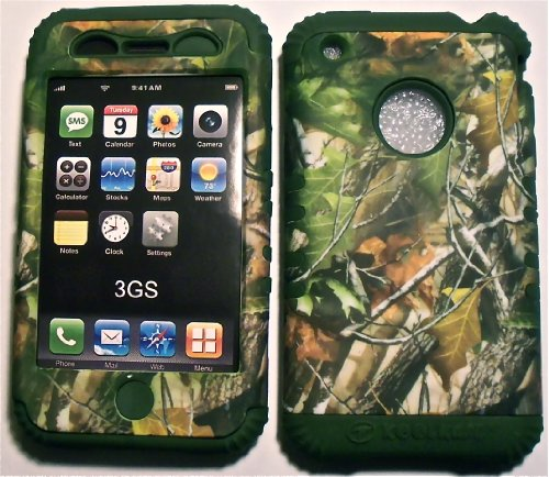 Camo Leaves On Green Silicone Skin For Apple Iphone 3 3G 3Gs Hybrid 2 In 1 Rubber Cover Hard Case Fits At&T Wireless