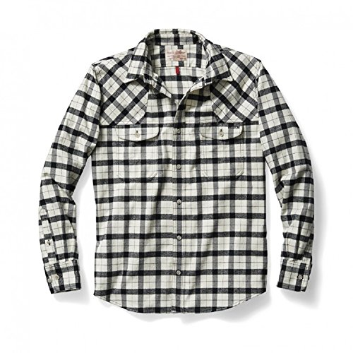 Filson Hunting Shirt Cream Flannel Black 2XL 10497