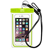 EOTW Waterproof Case Dry Bag with Military Class Lanyard; IPX8 Certified to 100 Feet for Kayaking, Swimming, Diving, Fits iPhone 6 6s Plus 5s SE, Galaxy S7 S6 S5, Blu LG Motorola NOKIA - Green+Black