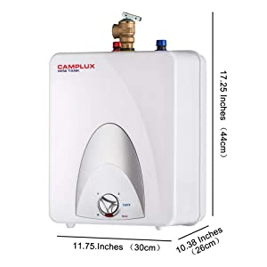 Camplux ME25 Mini Tank Electric Water Heater 2.5-Gallon,1.5kW at 120 Volts (Color: White, Tamaño: 2.5 Gallons)