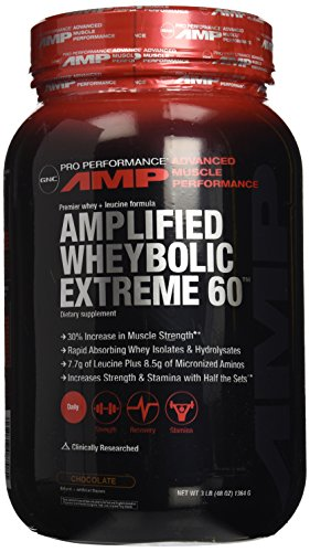 GNC Pro Performance AMP Amplified Whey-Bolic Extreme 60 Original Powder, Chocolate, 3 Pound (Wheybolic Extreme 60 Power compare prices)