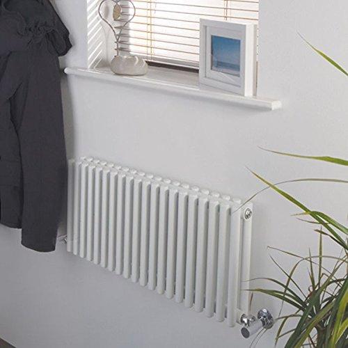 Hudson Reed NAHB0047 - Luxury White Horizontal Designer Radiator Heater With Minimalist Valves - Mild Steel - 12