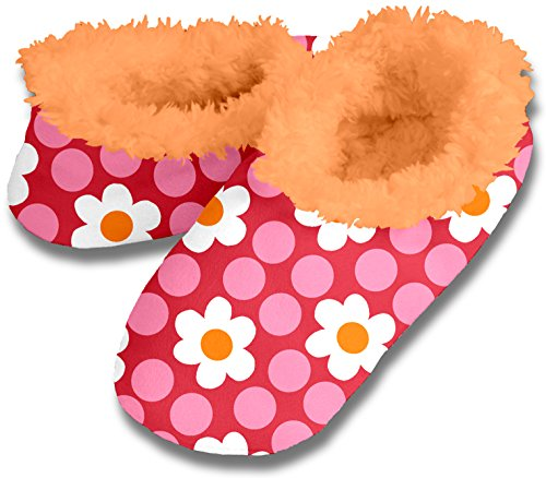 Snoozies Womens Decorator Cozy Fleece Lined Slippers - Four Dot Daisy, Small
