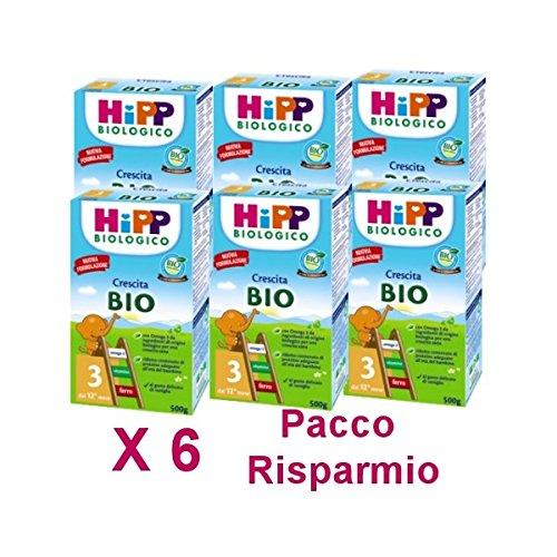 HiPP - latte Hipp 3 da 500 grammi X 6 Confezioni - Pacco Convenienza