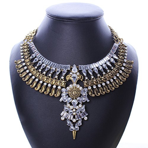 Qiyun (TM) Baroque Vintage Retro Style Faceted Rhinestone Festoon Chandelier Bib Necklace (Full Range Jewelry compare prices)