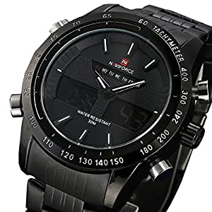 relogio masculino Men Luxury Brand NAVIFORCE Japan Double Movement Quartz Digital LED Watch Full Steel Men Fashion Sports Watch available at Amazon for Rs.1806.0500488281