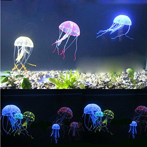 Aquarium Underwater Glowing Effect Jelly Fish - Multi Colour (Big, Approx 7 Inch in Length) - Glowing Effect - Cute Move in Aquarium - Ideal Aquarium Decorative