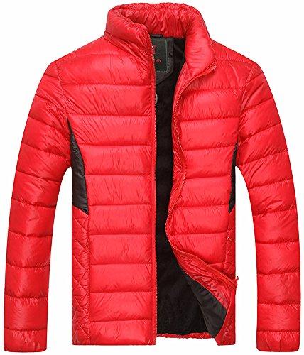 Fiream Herren Freizeit Winter Neuen Baumwolle Warm Daunenjacken Mäntel(Rot,EUR XL)