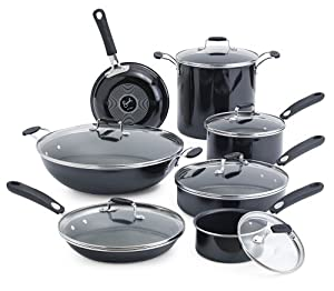 Emeril by All-Clad E410SD Hard Enamel Nonstick Cookware Set, 13-Piece, Black