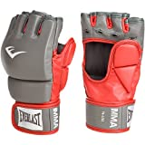 Everlast Train Advanced MMA 4-Ounce Competition Style Grappling Gloves (Red / Gray, Small / Medium)