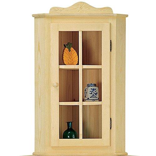 Sopralzo angolo vetrina country in legno massello grezzo in abete 45x45x103