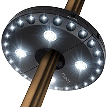 Patio Umbrella Light 3 Brightness Mode Cordless 28 LED Lights at 220 lux- 4 x AABattery Operated, Umbrella Pole Light for Patio Umbrellas, Camping Tents or Outdoor Use (Black)