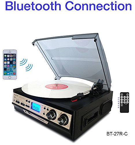 Boytone BT-27R-C Bluetooth connection 3-Speed Stereo Turntable, 2 built in Speakers Digital LCD Display AM/FM Radio, USB/SD/AUX+ Cassette/MP3 & WMA Playback /Recorder & Headphone Jack + Remote control (Turntable Am Fm compare prices)