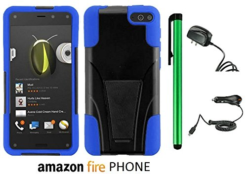 Amazon Fire Phone Premium Design Hybrid T-Stand, Flex Skin And Polycarbonate Hard Cover With Kickstand (Us Carrier: At&T; Released In July 2014) + Travel (Wall) Charger & Car Charger + 1 Of New Assorted Color Metal Stylus Touch Screen Pen (Blue / Black) front-1018131
