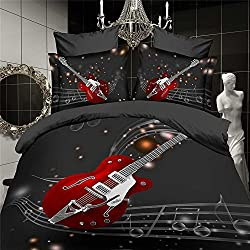 Andreannie ® Home Textile Queen Size Fashion Red Guitar and Musical Notes 3d Beautiful Creative Bedding Sets Cotton Material 4pcs Duvet Cover Bed Sheet Pillowcase for Family(comforter Not Contained)