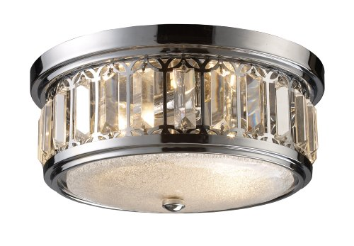 Elk 11226 2 Flush Mount Light In Polished Chrome With Frosted Glass Flat Diffuser