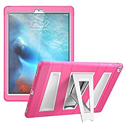 iPad Pro Case, [Heavy Duty] i-Blason Apple iPad Pro 2015 Armorbox [Dual Layer] Hybrid Full-body Protective Kickstand Case with Front Cover WITHOUT Screen Protector (Pink)