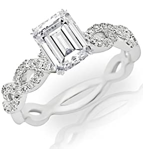 1.27 Carat Emerald Cut / Shape 14K White Gold Eternity Love Twisting Split Shank Diamond Engagement Ring ( J Color , VS1 Clarity )
