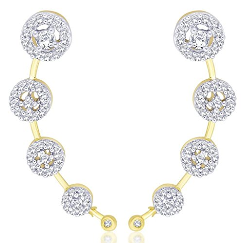 The Jewelbox CZ American Diamond Gold Plated Round Cluster Ear Cuff Pair