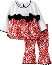 Mud Pie Baby-Girls Newborn Damask Minky Pant Set, Multi, 9-12 Months