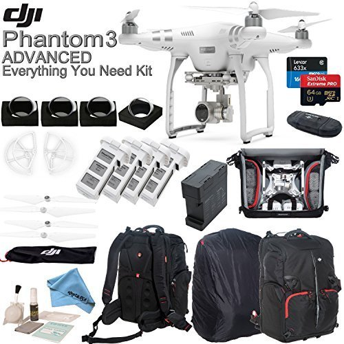DJI Phantom 3 Advanced Everything You Need Kit With Deluxe Backpack & eDig Kit: Includes 4 Piece Filter Kit, 4 Intelligent Flight Batteries, 4 Battery Charging Hub and more...