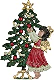 Angel by Tree German Pewter Christmas Tree Ornament