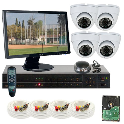 "Best Sale High End 4 Channel H.264 960H & D1 Realtime Dvr Security Camera System, Free 22"" Hdmi Monitor And Hdmi Male - Male Cable. 4 X 1/3"" Color Sony Cmos Camera, 700 Tv Lines, 3.6Mm Lens, 24Pcs Infrared Led, 49 Feet Ir Distance. 960×480 & 30Fps Recordi"