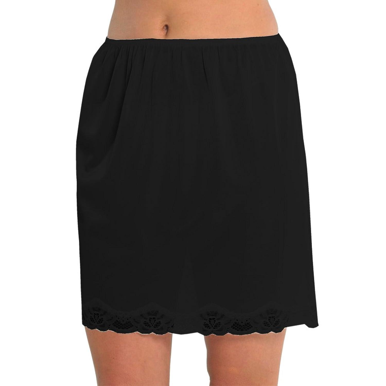 Marlow Damen Unterrock aus seidigem Polyester mit Spitze an der Unterseite, ca. 45 cm Länge, verschiedene Farben und Größen