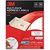 3M Permanent Adhesive Mailing Labels, 1 x 2.62 Inches and 0.5 x 1.75 Inches, White, 2750 per Pack (3100-MP)