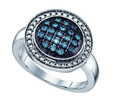 Sterling silver 0.20 Carat (ctw) Diamond Cluster Ladies Blue Diamond Ring