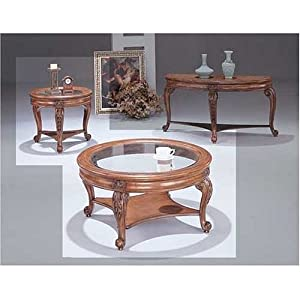 3 Pc Slightly Distressed Round Top Coffee Table Set