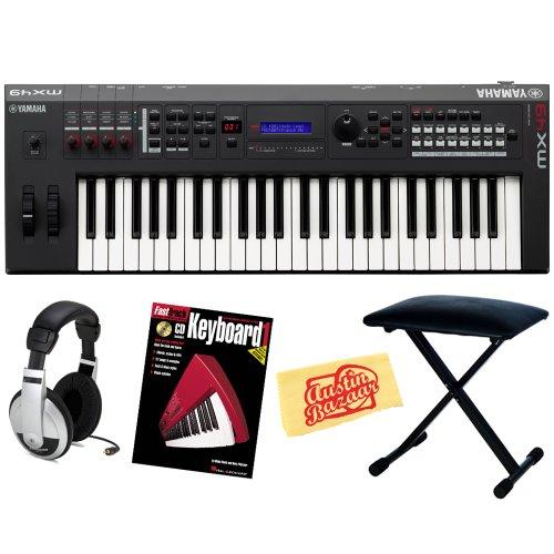 Yamaha Mx49 49-Key Synthesizer Bundle With Bench, Headphones, Instructional Book, And Polishing Cloth
