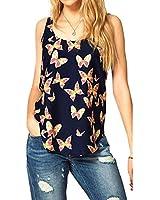 Culater® 1 pièce 1PC femmes papillon impression Tank Top en mousseline de soie sans manches Chemises Crew Vest