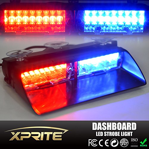 Xprite Red & Blue 16 LED High Intensity LED Law Enforcement Emergency Hazard Warning Strobe Lights For Interior Roof / Dash / Windshield With Suction Cups (Led Dash Lights Red Blue compare prices)