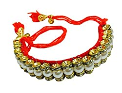Red Cotton Dori Lumba Rakhi For Bhabhi / Women
