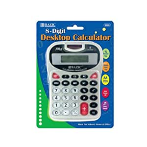 bazic 8 digit silver desktop calculator w. Black Bedroom Furniture Sets. Home Design Ideas