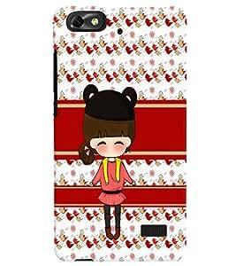 PrintVisa Cute Cartoon Art Print & Pattern Girl 3D Hard Polycarbonate Designer Back Case Cover for Huawei Honor 4C