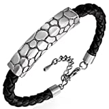 B326 PVC Braided Leather & Copper Bracelet Stone Style Rectangle Pillar (B326)