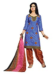 Aryahi Women's Cotton Dress Material (70394_Blue)