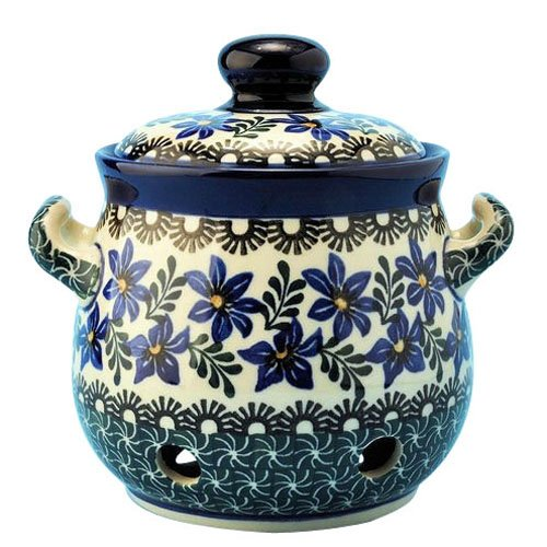 New Polish Pottery Garlic Keeper Boleslawiec Ca Pattern 1569 European Stoneware