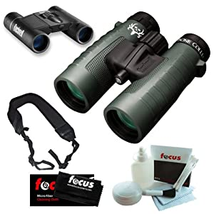 Bushnell Trophy XLT 10X42 Green Roof WP FP EFG FMC Binoculars + Powerview 8x21 Folding Roof Prism Binoculars + Wide Strap + 5 Piece Deluxe Cleaning and Care Kit + Micro Fiber Cleaning Cloth