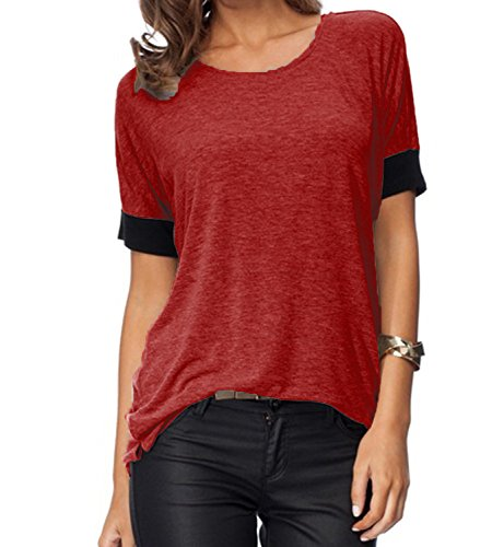 Sarin Mathews Women's Casual Round Neck Loose Fit Short Sleeve T-Shirt Blouse Tops Burgundy XL (Red Shirts Women compare prices)