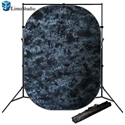 LimoStudio Photo Backdrop Tie Dye Gray Collapsible Pop Out Muslin Background Panel with Backdrop stand, AGG1171