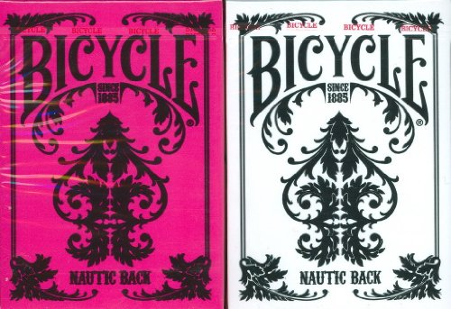 Bicycle Nautic Back Playing Cards 2 Deck Set in White & Pink