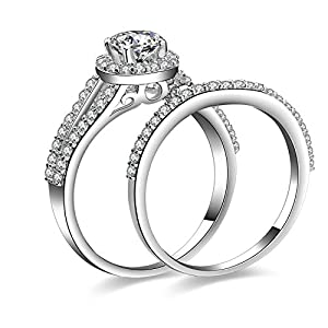 Jewelrypalace Women's 1.2ct Cubic Zirconia CZ Solid 925 Sterling Silver Wedding Band Anniversary Engagement Ring Set Size 6