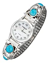 Sterling Silver Ladies Southwest Stretch Band Watch with Turquoise Nuggets