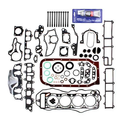 NEW EF027C1HBSI Brand New OE Replacement Graphite Engine Full Gasket Set (Head & Lower Conversion Gasket Set) + Cylinder Head Bolt Kit + RTV Gasket Silicone Sealant for Toyota 2.4L Pickup 4Runner Celica 4-Cylinder 22RE 22REC SOHC (8-Valve) Engine 1985-95 (22re Intake Manifold compare prices)